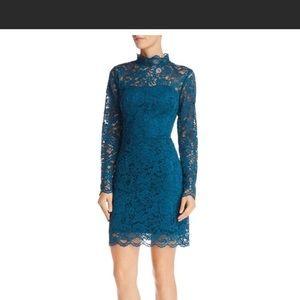 Betsey Johnson teal long sleeve lace dress NWT 14